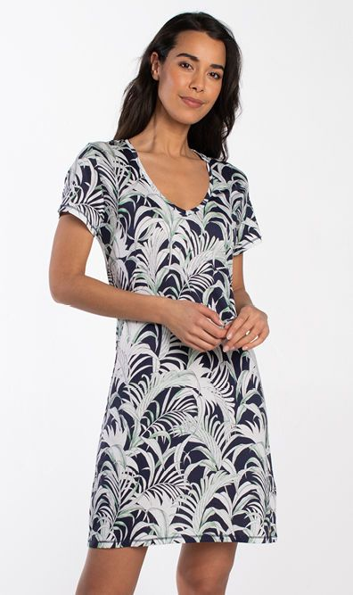 Palm Leaves Short Sleeve Dress 030513