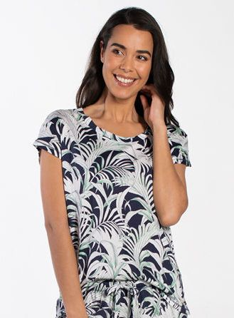 Palm Leaves Short Sleeve Sleepshirt 030115