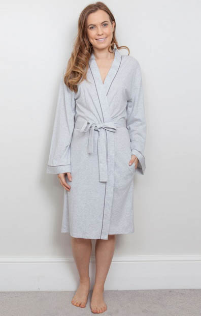 Erica Grey Knit Long Robe 3810