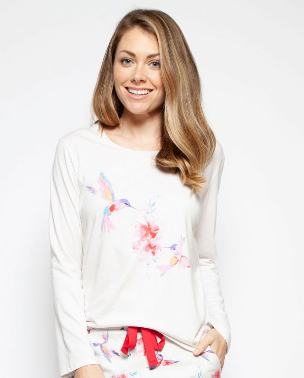 Evie Placement Print Knit Pyjama Top 4210