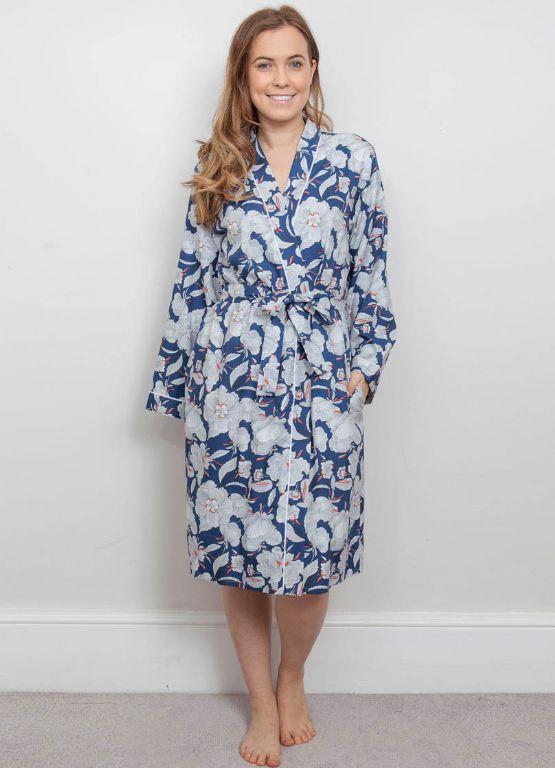 Zoe Woven Floral Print Long Robe 3841