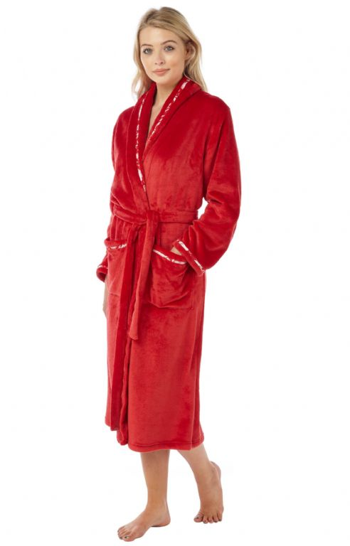 Fleece Robe with Satin Trim IN15083