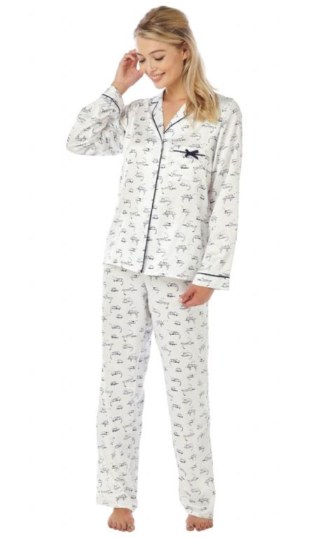 Matt Satin Cat Print Pyjamas IN15132